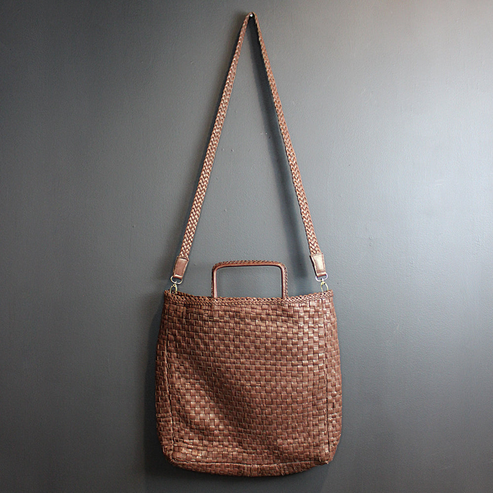 .Brown Handmade Leather Cross-body Bag