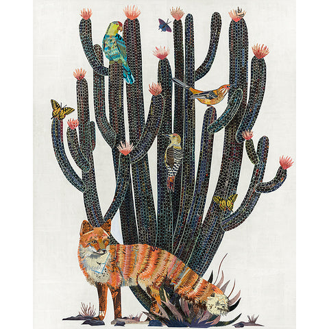 .Multi Colored Print - Fox + Cactus