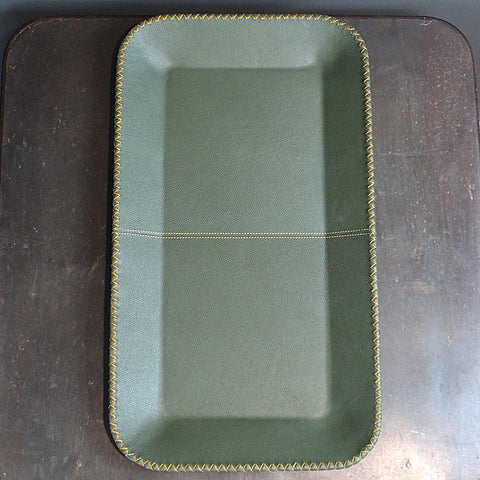 Green Faux Leather Tray
