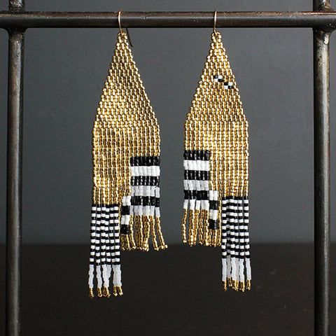 .Gold Hand Beaded Earrings