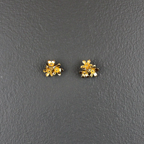Gold 3 Cluster Plated Earrings
