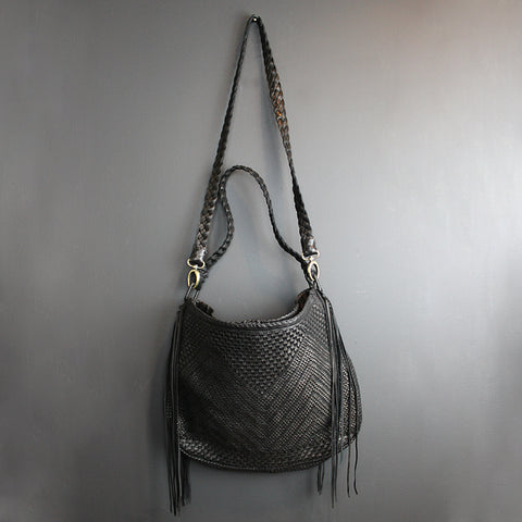 Black Handmade Leather Bag - Large