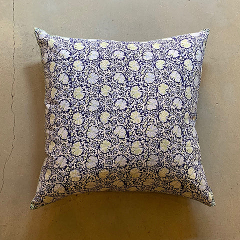 ".Blue + Green Hand Block Printed Hasa Pillow - 26"" x 26"""