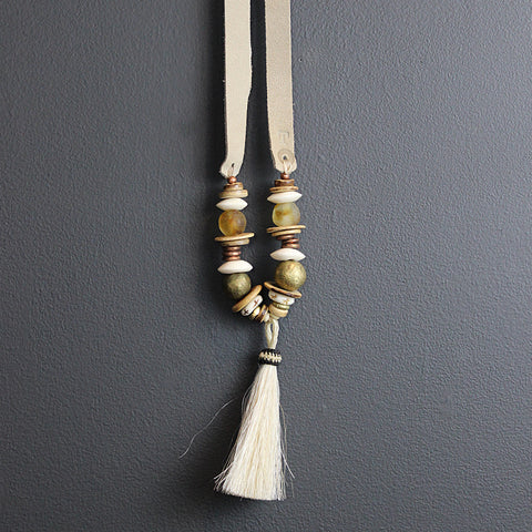 .Cream Horse Tassel Necklace