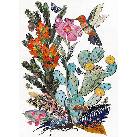 .Multi Colored Hummingbird Print