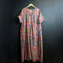 .Multi Colored Ikat Kaftan