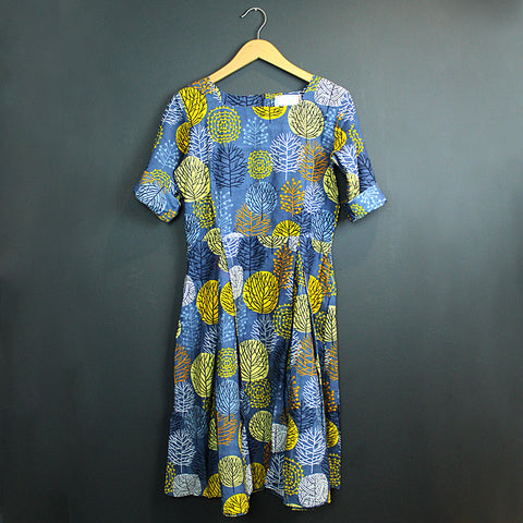 .Blue Handmade 3/4 Sleeve Dress