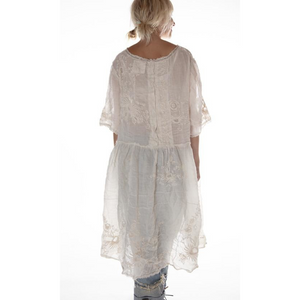 Cream Linen Embroidered Dress