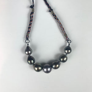 Grey Tahitian Pearl Necklace on Hand Dyed Silk