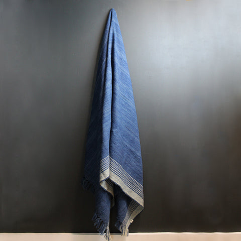 .Blue + Cream Wool Throw