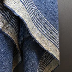 Blue + Cream Wool Throw