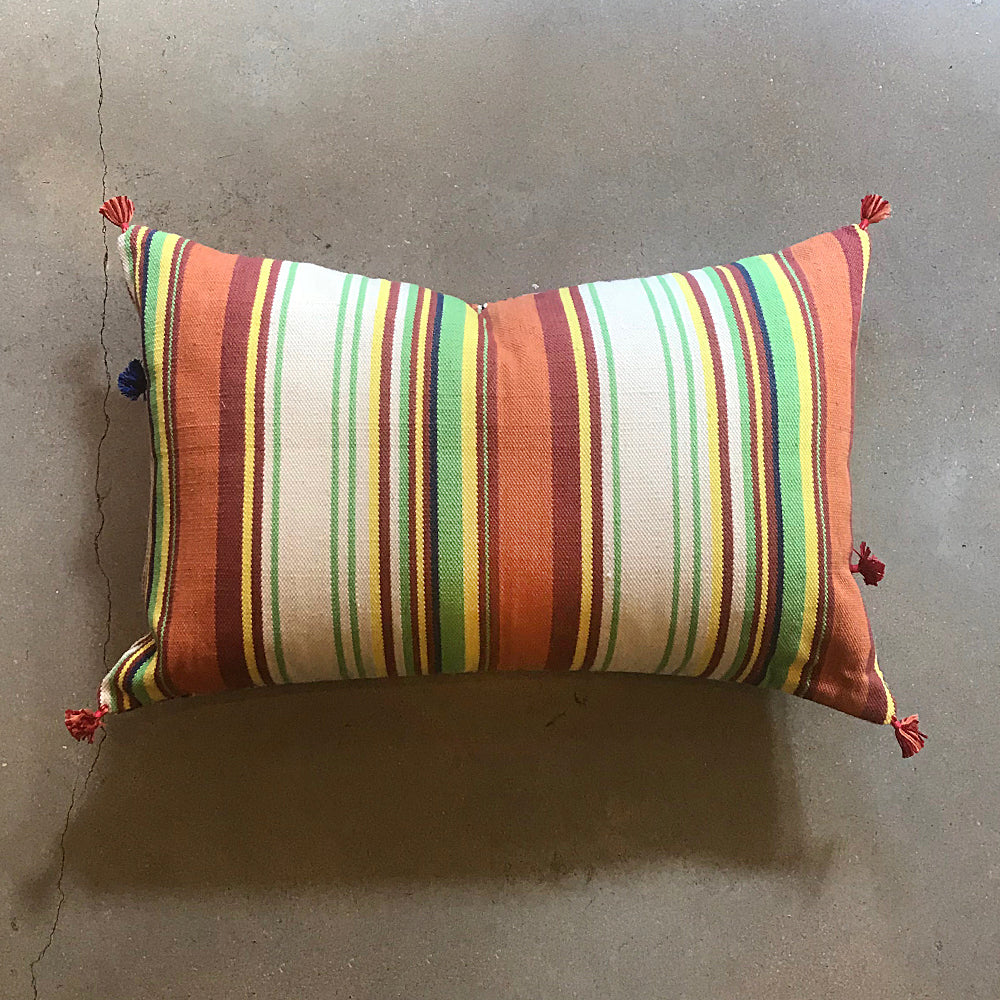"Multi Colored Handmade Pillow - 24"" x 16"""