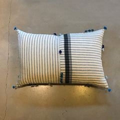 "Blue + Cream Handmade Pillow - 24"" x 16"""