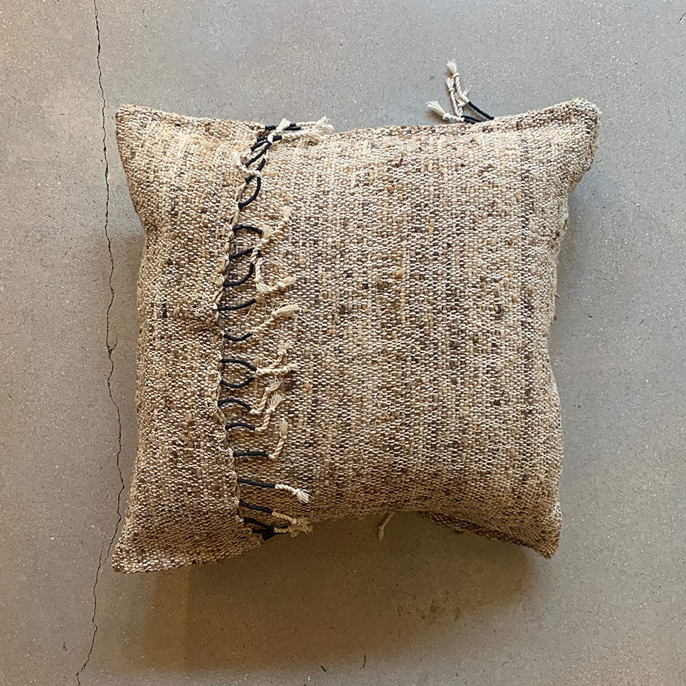 "Brown Silk + Cotton Pillow - 19"" x 19"""
