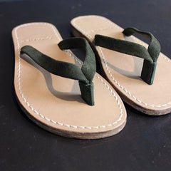 Green Suede + Leather Flip Flops