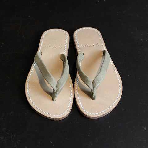 Neutral Suede + Leather Flip Flops