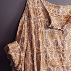 Brown Cotton Smock Top