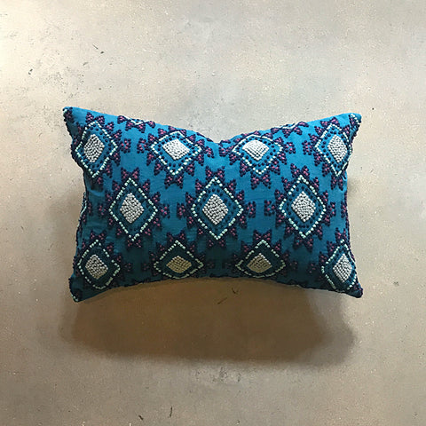 ".Blue Hand Knotted Pillow - 18"" x 12"""