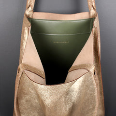 Gold Metallic Leather Tote - Large