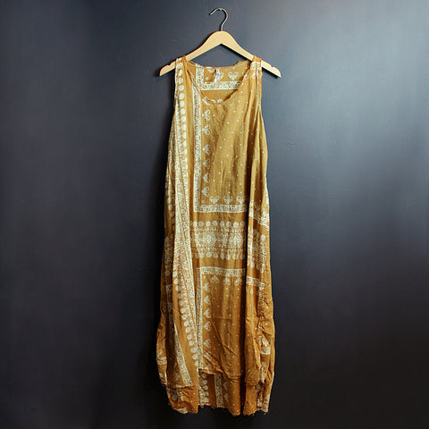 .Yellow Hand Block Printed Dress
