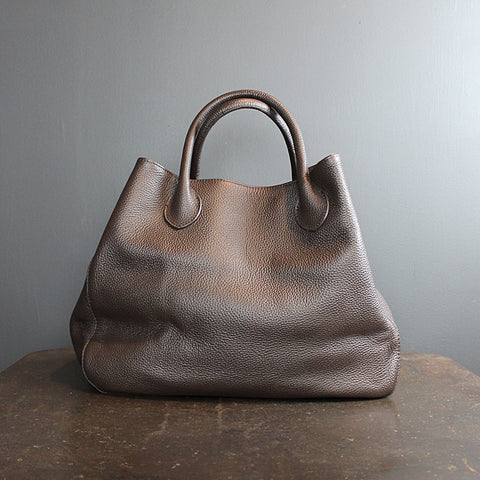 .Brown Handmade Leather Bag