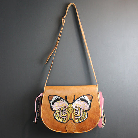 .Brown Leather Butterfly Bag