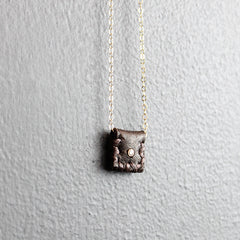 Brown Leather Pouch Necklace