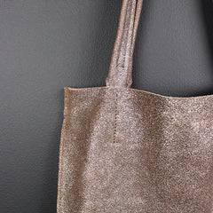 Gold Metallic Leather Tote - Small