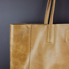 Brown Leather Bucket Bag
