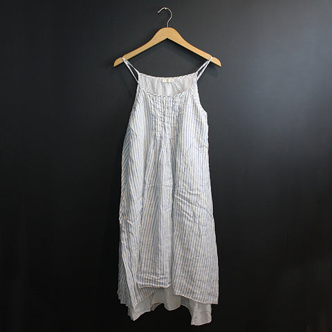 .Blue Stripe Linen Dress