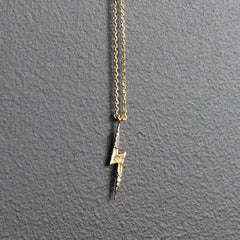 Gold Lightening Bolt with Diamonds Necklace