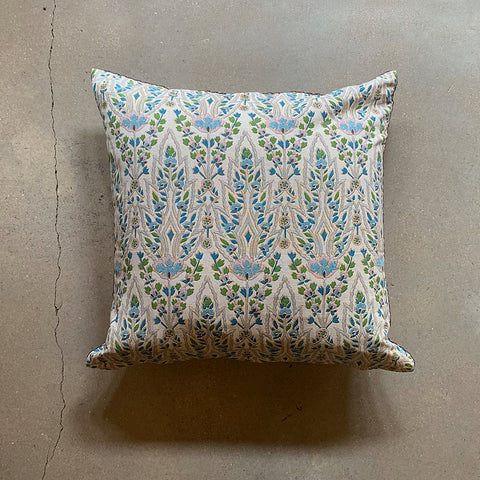 ".Blue + Cream Hand Block Printed Pillow - 20"" x 20"""