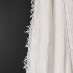 White Fringed Bed Throw