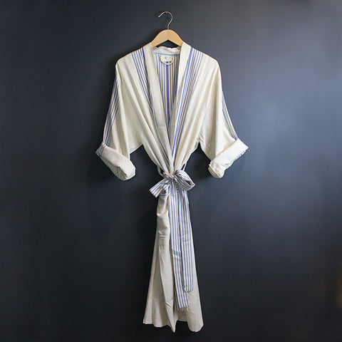 .Cream + Blue Cotton Robe