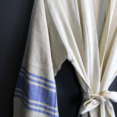 .Cream + Blue Linen Robe