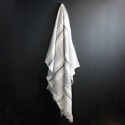 White + Blue Handwoven Linen Throw