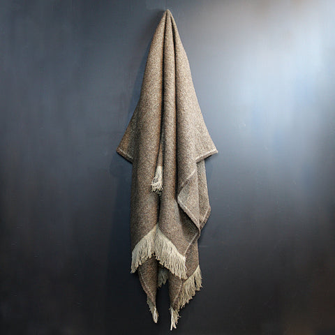 .Brown Handwoven Linen Throw