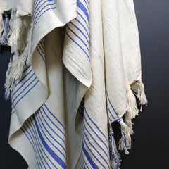 Cream + Blue Handwoven Cotton Bath Towel