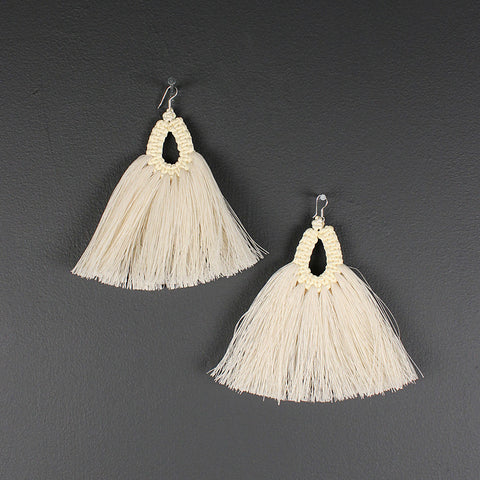 .Handmade Long Cotton Earrings