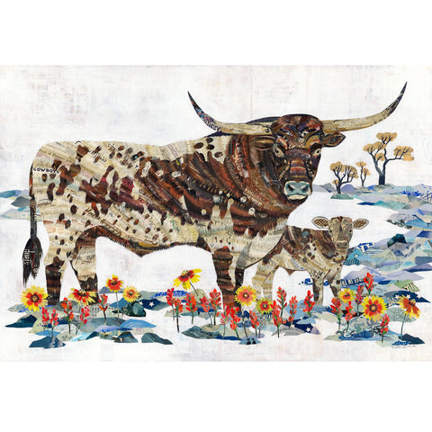 Multi Colored Print - Longhorn with Calf