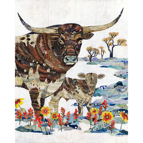 .Multi Colored Print - Longhorn with Calf Small