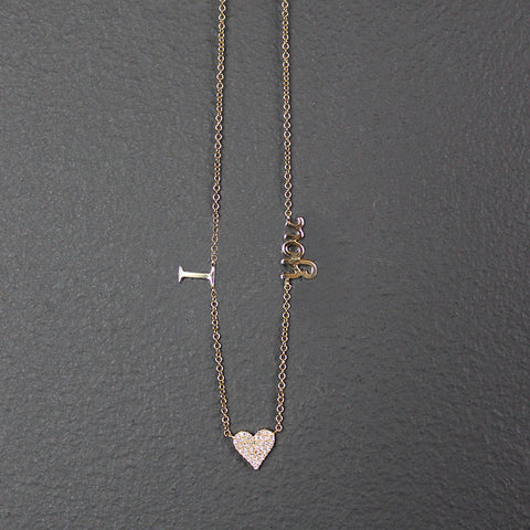 .Gold 14K I Love You Necklace