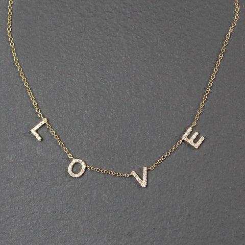 .Gold 14K Diamond Love Necklace