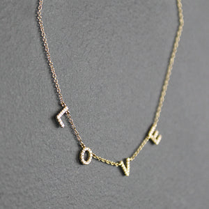 Gold 14K Diamond Love Necklace