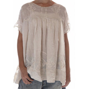 Cream Embroidered Lace Top