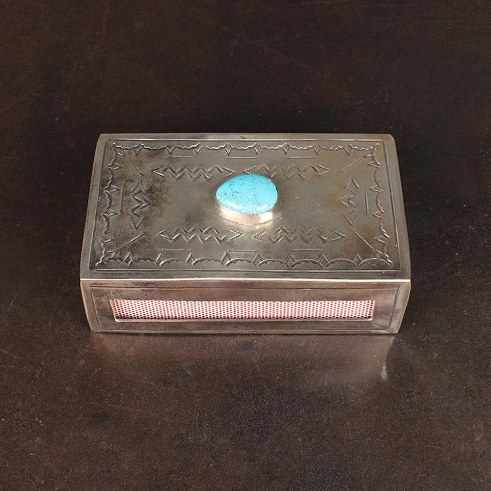 Silver Hand-stamped Matchbox with Turquoise