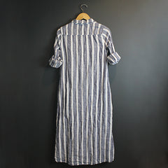Blue + White Stripe Linen Dress with Red Stitching