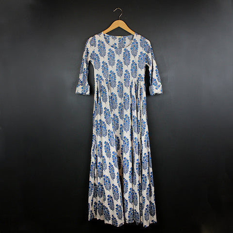 .Blue Hand Block Printed Dress