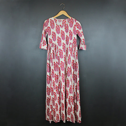 .Red Hand Block Printed Dress