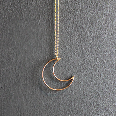 .Gold Filled Moon Necklace
